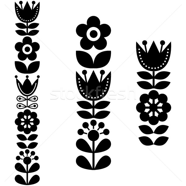 Finnish inspired long folk art pattern - Nordic, Scandinavian style Stock photo © RedKoala