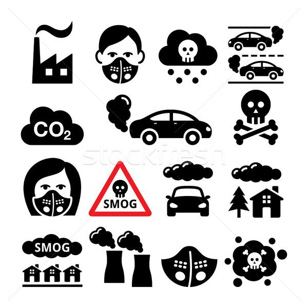 Szmog szennyezés ikon szett ökológia környezet város Stock fotó © RedKoala