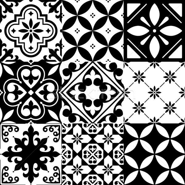 Espanhol azulejos projeto sem costura preto padrão Foto stock © RedKoala