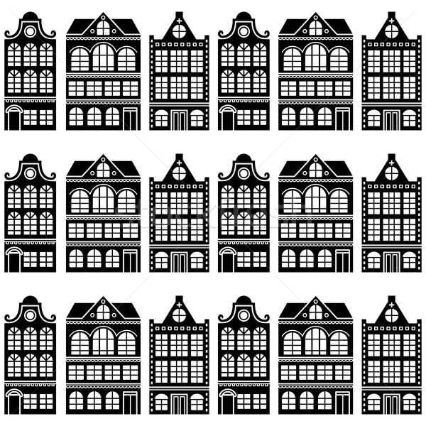 Seamless house pattern - Dutch, Amsterdam houses, retro style   Stock photo © RedKoala