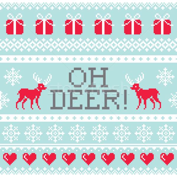 鹿 パターン クリスマス シームレス デザイン 冬 ストックフォト © RedKoala
