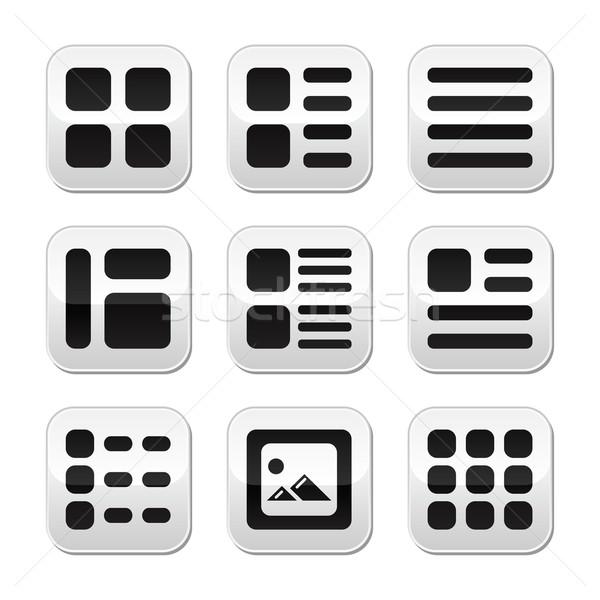 Website galerij display opties knoppen Stockfoto © RedKoala