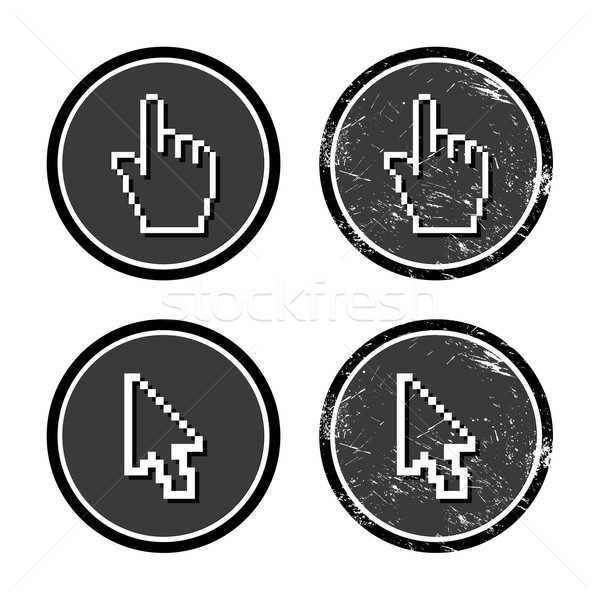 Cursors hand and arrow on retro label Stock photo © RedKoala