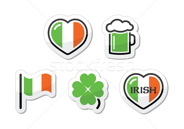 Foto stock: Día · de · san · patricio · iconos · irlandés · bandera · trébol · verde