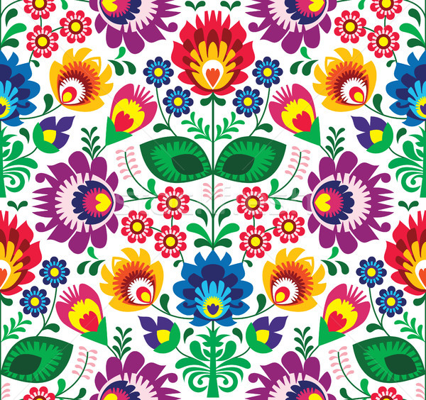 Seamless traditional floral polish pattern - ethnic background Stock photo © RedKoala