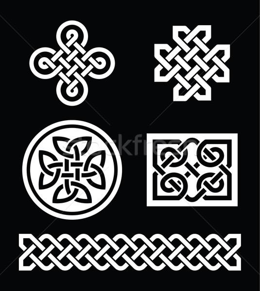 Celtic wzorców czarny wektora zestaw tradycyjny Zdjęcia stock © RedKoala