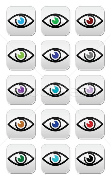 Szem színek látnivaló ikon szett vektor különböző Stock fotó © RedKoala