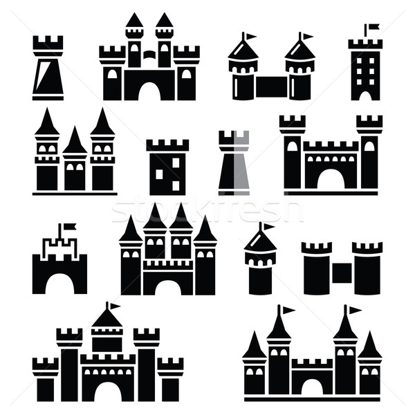 Castle, towers vector icons set  Stock photo © RedKoala