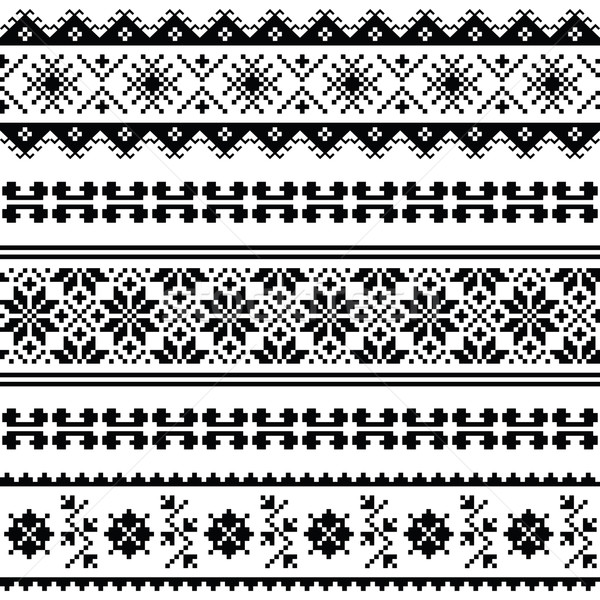 Ukrainian, Belarusian folk art embroidery pattern or print in black Stock photo © RedKoala