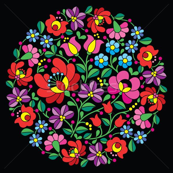 Kalocsai folk art embroidery - red Hungarian round floral pattern on black Stock photo © RedKoala