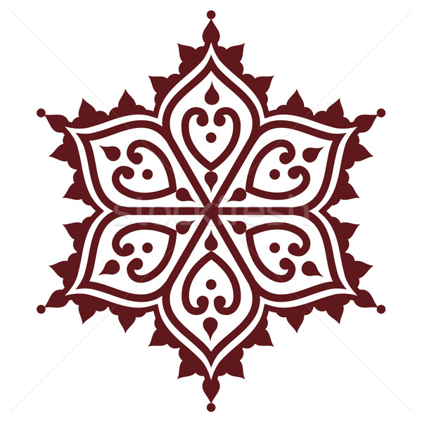 Mehndi, Indian Henna brown tattoo design - flower shape  Stock photo © RedKoala