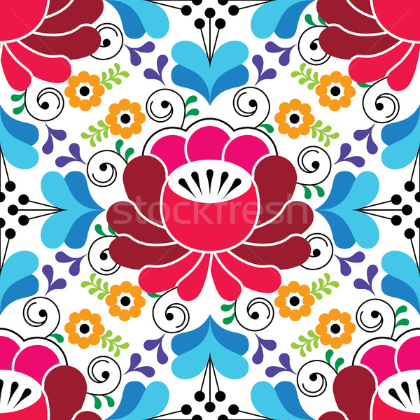 Russian seamless folk pattern, traditional colorful design with flowers Stock photo © RedKoala