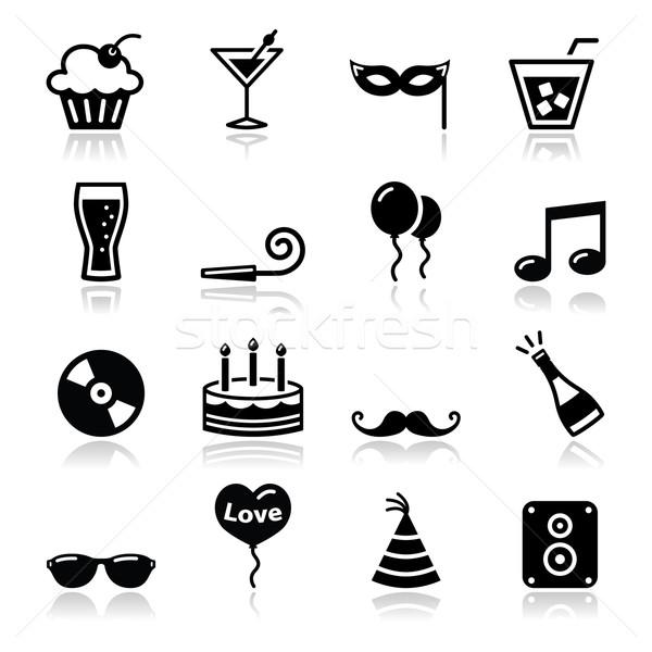 Party icons set - birthday, New Year's, Christmas Stock photo © RedKoala