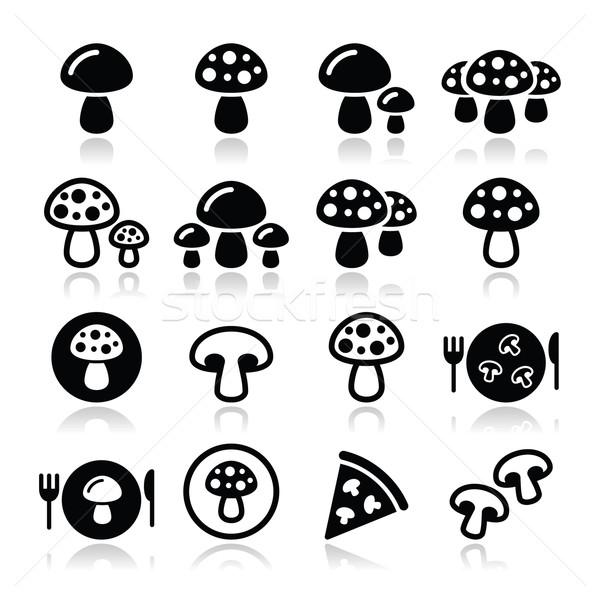 Mushroom vector icons set Stock photo © RedKoala