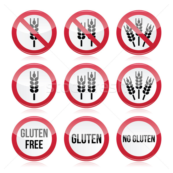 Gluten free, no gluten warning vector signs  Stock photo © RedKoala