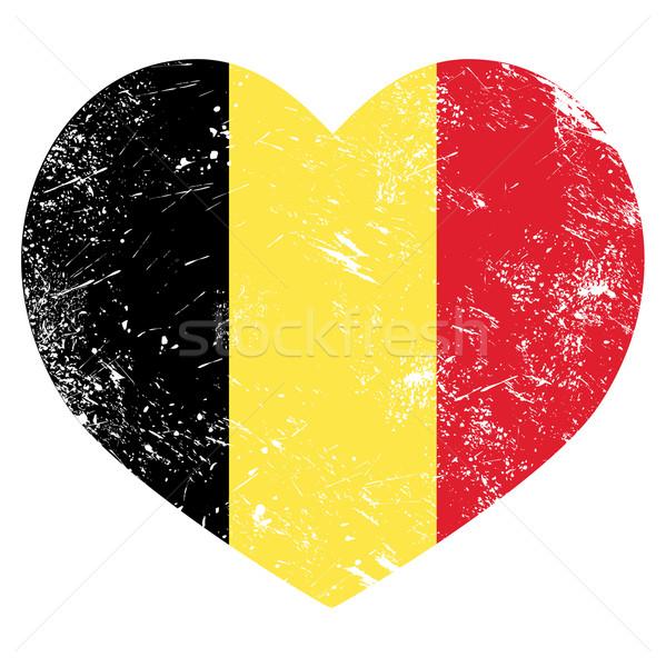 Stock fotó: Belgium · szív · retro · zászló · alakú · grunge
