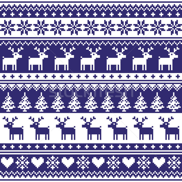 Winter, Nordic seamless navy blue pattern with reindeer Stock photo © RedKoala