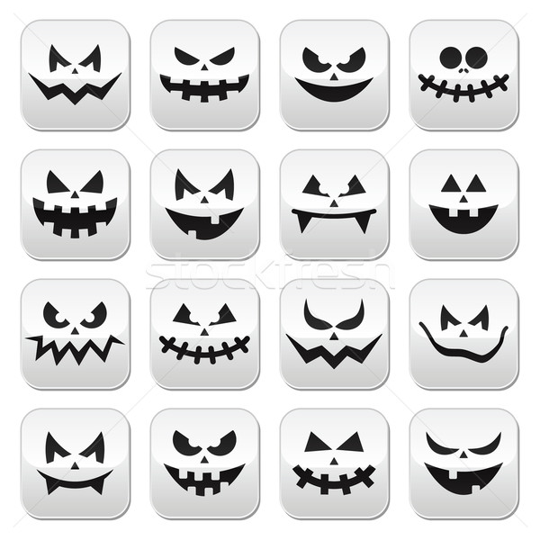 Scary Halloween pumpkin faces buttons set Stock photo © RedKoala