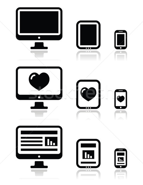 Responsive website design - computer screen, mobile, tablet icons set Stock photo © RedKoala