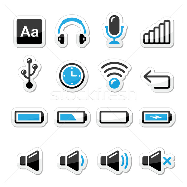 Electronic device / Computer software icons set as labels Stock photo © RedKoala