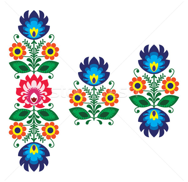 Folk embroidery with flowers - traditional polish pattern Stock photo © RedKoala