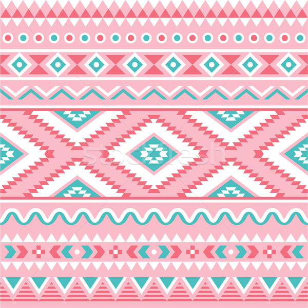 Tribal seamless pattern, Aztec pink and green background  Stock photo © RedKoala