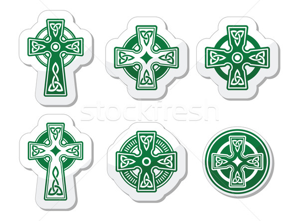 Irish, Scottish Celtic cross on white vector sign  Stock photo © RedKoala