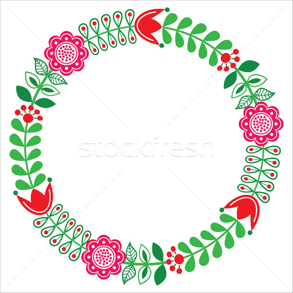 Finnish floral folk art round pattern - Nordic, Scandinavian style Stock photo © RedKoala