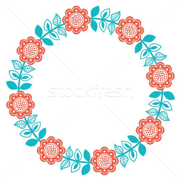 Művészet virágmintás minta északi stílus üdvözlet Stock fotó © RedKoala