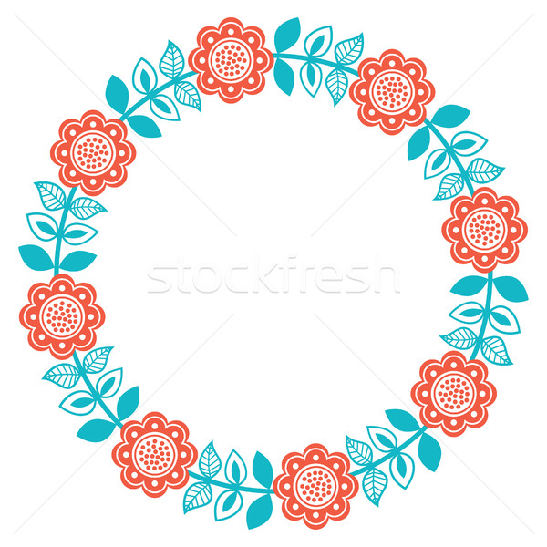 Scandinavian folk art round floral pattern - Finnish, Nordic, style Stock photo © RedKoala