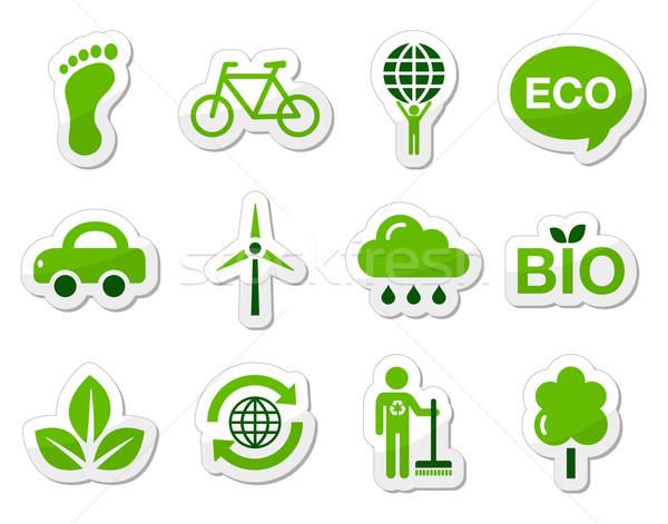 Verde eco ícones ecologia reciclagem aquecimento global Foto stock © RedKoala
