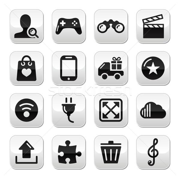 веб интернет серый Кнопки набор вектора Сток-фото © RedKoala