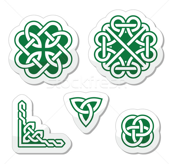Celtic green knots patterns - vector Stock photo © RedKoala
