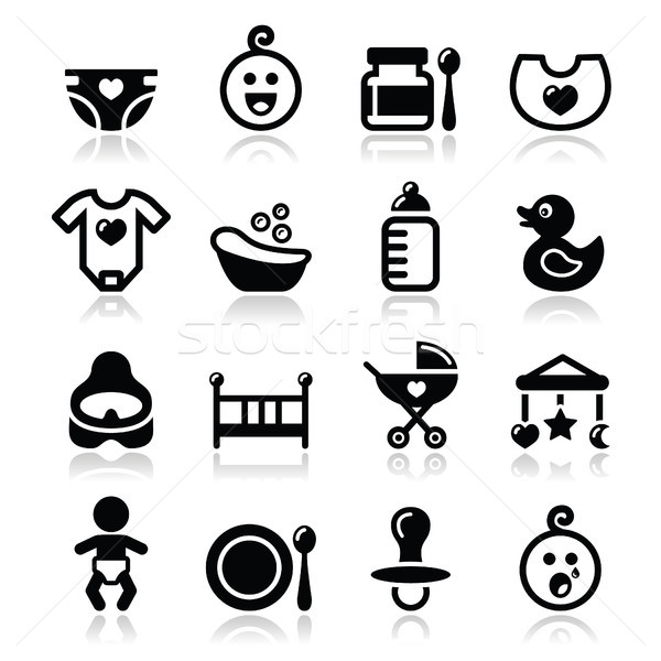Baby , childhood vector icons set isolated on white Stock photo © RedKoala