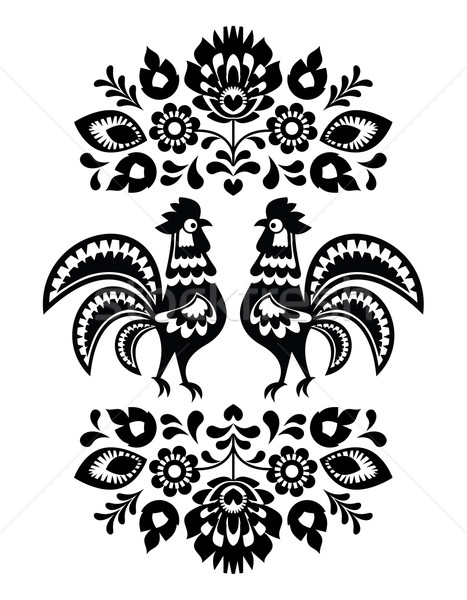 Polish ethnic floral embroidery with roosters in black and white Stock photo © RedKoala