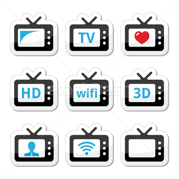 TV set, 3d, HD vector icons set Stock photo © RedKoala