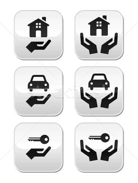 Home, car, keys with hands buttons set Stock photo © RedKoala