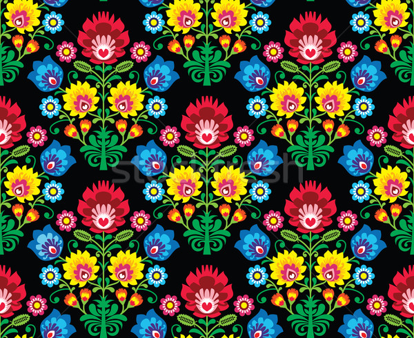 Seamless Polish folk art floral pattern - wzory lowickie, wycinanki  Stock photo © RedKoala