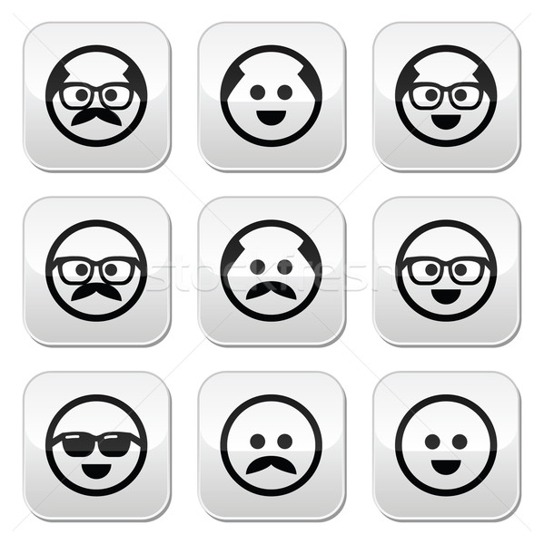 Bald man with mustache and in glasses faces buttons set  Stock photo © RedKoala