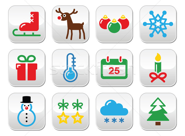 Christmas winter buttons set  Stock photo © RedKoala