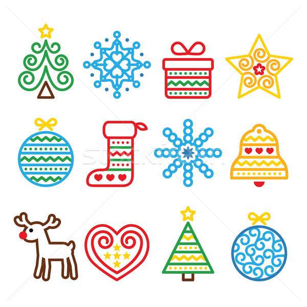 Foto stock: Natal · ícones · árvore · apresentar · rena