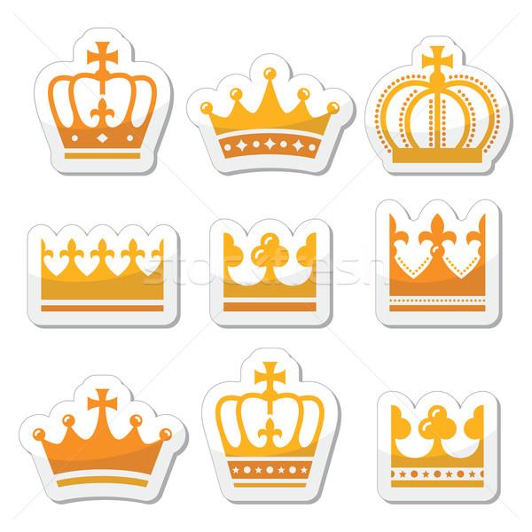 Stock photo: Crown, royal family gold icons set