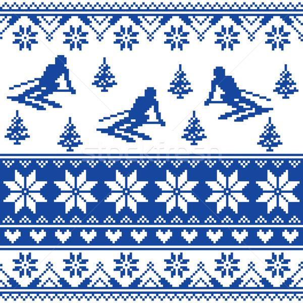 Winter knit pattern - man skiing - white and navy blue background  Stock photo © RedKoala