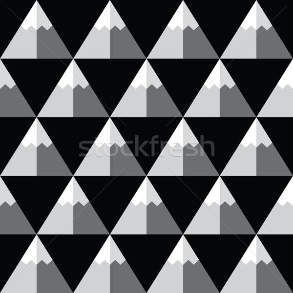 Geometric monochrome seamless pattern with mountains - winter background  Stock photo © RedKoala