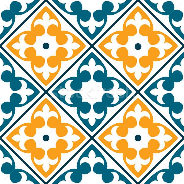 Espanhol telha padrão azulejos projeto sem costura Foto stock © RedKoala