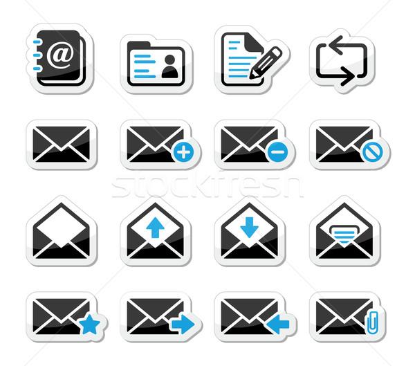 Email postaláda vektor ikon szett címkék posta Stock fotó © RedKoala