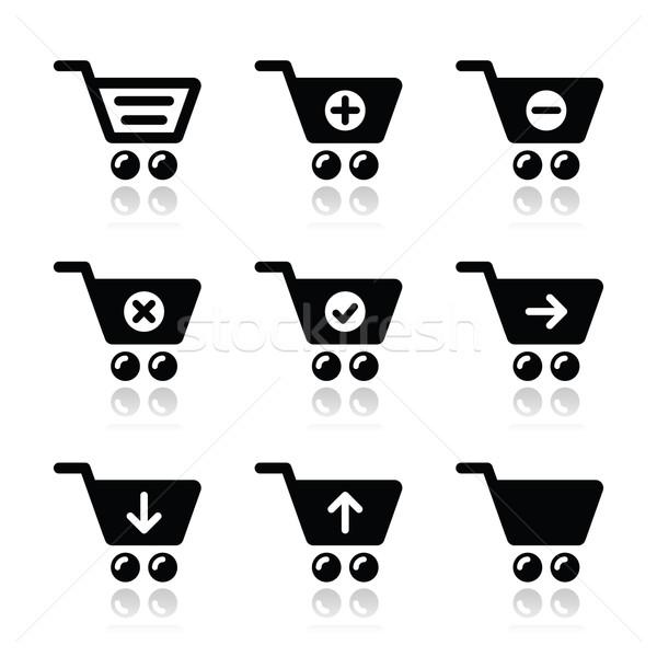 Shopping cart vector icons set Stock photo © RedKoala