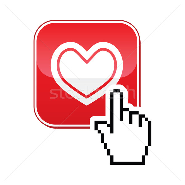 Heart button with cursor hand icon - velntines, love, online dating concept Stock photo © RedKoala