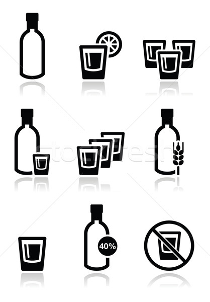 Vodka, strong alcohol icons set  Stock photo © RedKoala