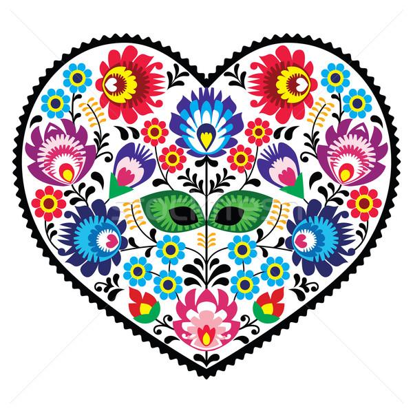 Sanat kalp nakış çiçekler dekoratif geleneksel Stok fotoğraf © RedKoala